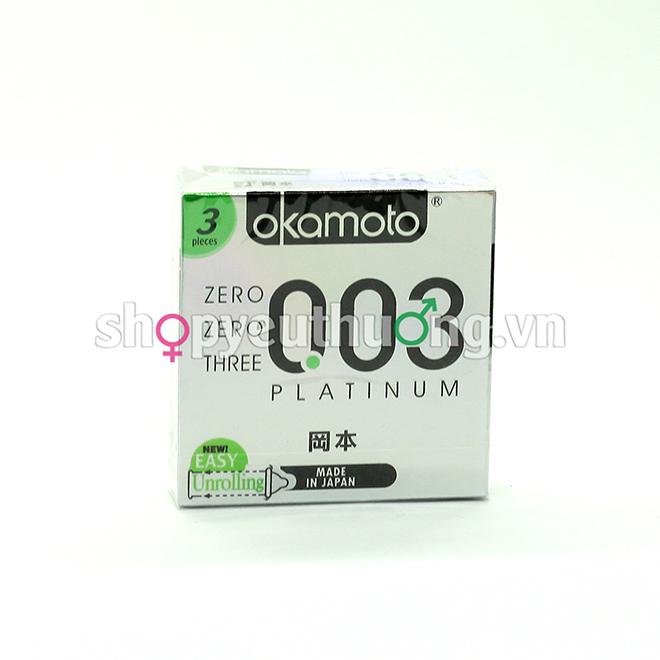Okamoto 003 PLATINUM chất lượng bạch kim - bóng láng siêu mỏng - Hộp 3 chiếc