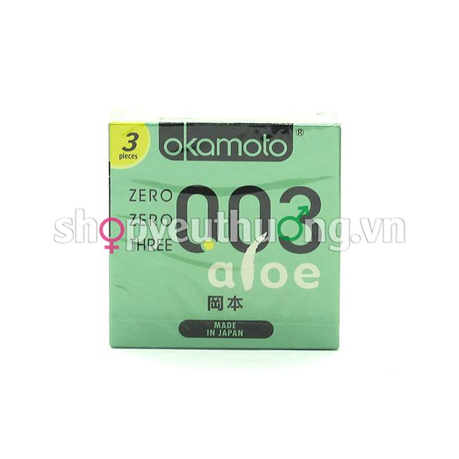 Bao cao su Okamoto 003 ALOE - Bổ sung tinh chất nha đam (lô hội) dưỡng da - Bóng láng siêu mỏng