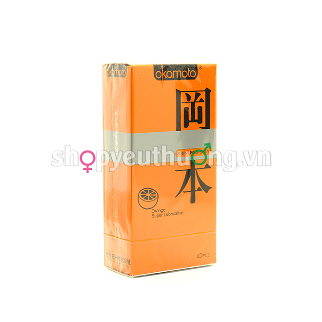 Okamoto Skinless skin (Orange Super Lubricative) - Hộp 10 chiếc