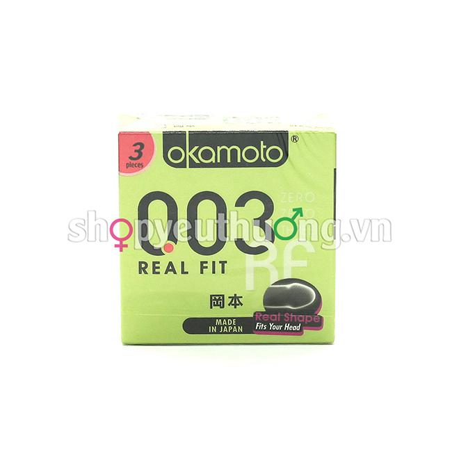Okamoto 003 REAL FIT công nghệ easy rolling dễ dàng đeo - ôm cực khít - Hộp 3 chiếc