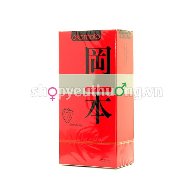 Okamoto Skinless skin (Strawberry) - Hộp 10 chiếc
